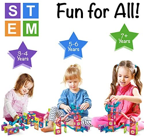 51FxgpUbaIL. AC  - Magnetic Marble Run Building Set - 191 Piece - 3D Magnetic Tiles Ball Track -Building Kit Fun and Educational Toy STEAM Learning and Creativity Gift for Boys and Girls Ages 3 4 5 6 7 8 Years Old