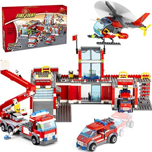 51GQ+BaMoXL. AC  - QLT City Fire Station Building Kit Stem Toys,744 Pcs Fire Truck Helicopter Building Blocks Models,Creative Education DIY Learning Consturction Bricks Sets Toys for Kids Gifts
