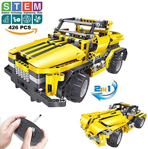 51HR2FKeymL. AC  - STEM Toys Remote Control Building Sets for Boys 8-12 | 426 Pcs RC engineering Kit Builds Off Road Car or RC Racer (2in1) STEM Building Toy Set for Kids - Ages 6 7 8 9 10 11 12 Years Old, Boy Toys Gift