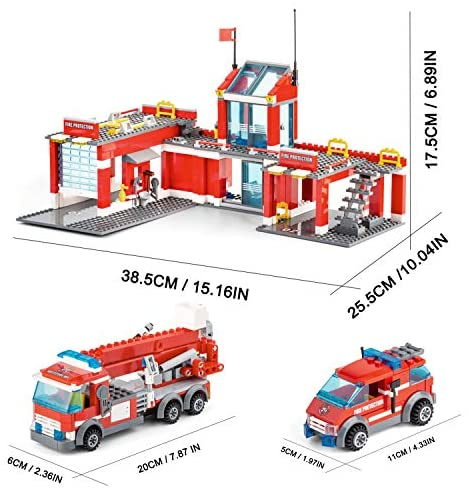 51HkaNyi1yL. AC  - QLT City Fire Station Building Kit Stem Toys,744 Pcs Fire Truck Helicopter Building Blocks Models,Creative Education DIY Learning Consturction Bricks Sets Toys for Kids Gifts