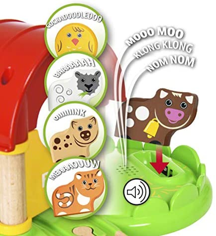 51I3MCGkQ4L. AC  - Brio World - 33826 My First Farm   12 Piece Wooden Toy Train Set for Kids Ages 18 Months and Up