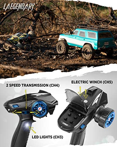 51K8csWfoYL. AC  - 1:10 Scale Large RC Rock Crawler - 4WD Off Road RC Cars - Remote Control Car 4x4 Electric Truck - IPX5 Waterproof Trucks for Adults - RTR with 5Ch Remote, Battery and Charger