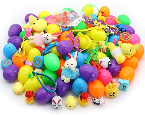 """51KFTHleSCL. AC  - 200 Pcs Prefilled Colorful Easter Eggs w/Toys and Stickers Premium Hinged 2 3/8"""" for Kids Basket Stuffers Fillers, Easter Hunt Game, Toys Filling Treats and Easter Theme Party Favor"""