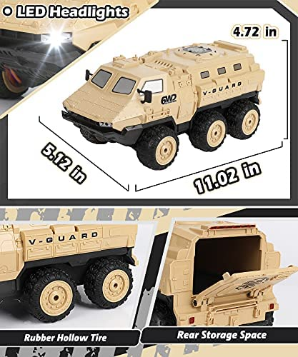 51KJLn9tqvS. AC  - RC Military Truck, RC Army Trucks, 120 Min Play 6WD 1/16 Scale RC Army Car, 2.4 GHz Remote Control High Speed Army Car, All-Terrain Off-Road Military Tank RC Car Vehicle for Adults Kids, 2 Batteries