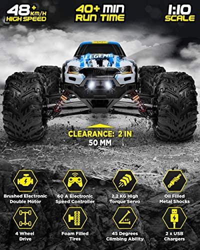 51KPObpS87L. AC  - 1:10 Scale Large RC Cars 48+ kmh Speed - Boys Remote Control Car 4x4 Off Road Monster Truck Electric - All Terrain Waterproof Toys Trucks for Kids and Adults - 2 Batteries + Connector for 40+ Min Play