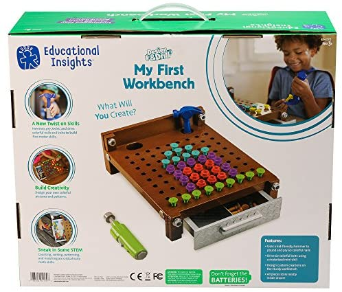 51KcmMBv6ZL. AC  - Educational Insights Design & Drill My First Workbench, Drill Toy, STEM & Construction, 125 Pieces, Ages 3+