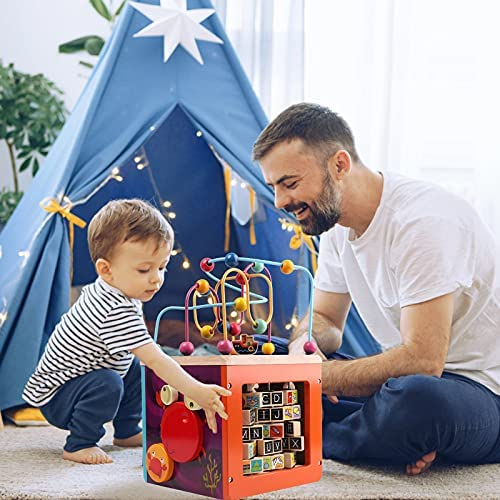 51LAKa7z XS. AC  - GEMEM Wooden Activity Cube Bead Maze Toy Animal Learning Letters Gear Toys for Toddler Kid