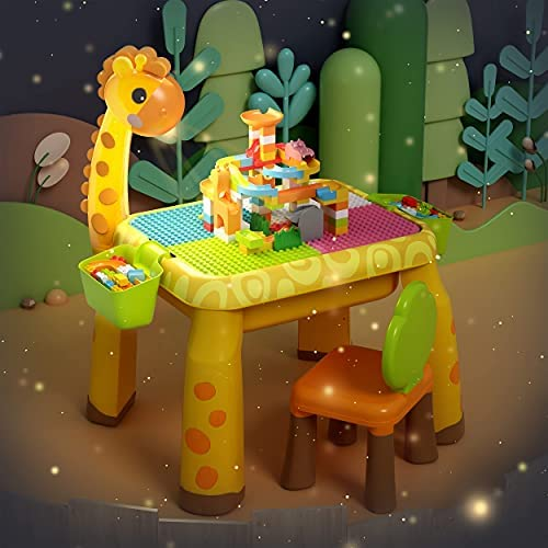 51M4+x4OTdS. AC  - Toddler Kids Activity Table Set Table and Chairs Set with Storage,8-in-1 Multi Activity Table Set, Large Building Blocks Compatible Bricks Toy, Toddlers Activity for Boys Girls, USB Supply with Light