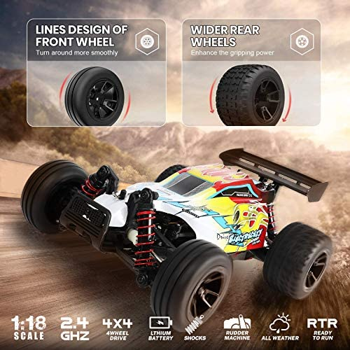 51MBDmVIuuL. AC  - RC Car 1/18 High Speed 4WD Electric Remote Control Car, 30+MPH 2.4GHz All Terrain Off-Road Rally Buggy Racing Cars Toys, with Two Rechargeable Batteries for 40+ Min Play, Gift for Boys Teens Adults