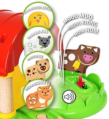 51MeBGWlAeL. AC  - Brio World - 33826 My First Farm   12 Piece Wooden Toy Train Set for Kids Ages 18 Months and Up
