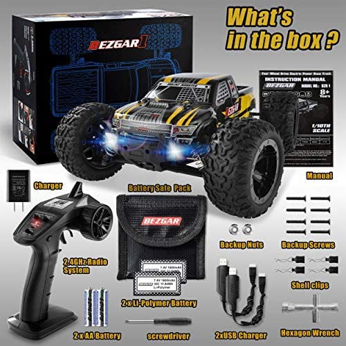 51PZryCRFyL. AC  - BEZGAR 1 Hobby Grade 1:10 Scale Remote Control Truck, 4WD High Speed 48+ kmh All Terrains Electric Toy Off Road RC Monster Vehicle Car Crawler with 2 Rechargeable Batteries for Boys Kids and Adults