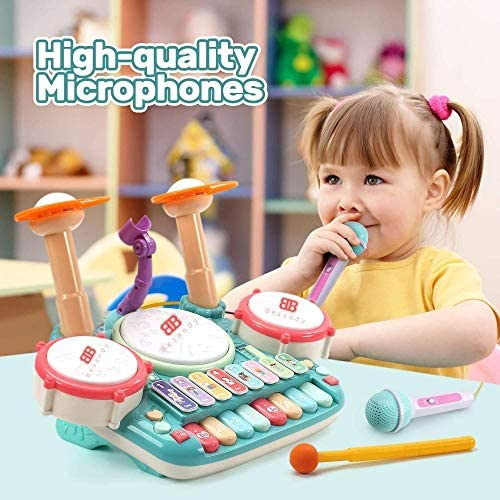 51Pvj9Sy4vL. AC  - Besandy 5 in 1 Musical Instruments Toys - Kids Electronic Piano Keyboard Xylophone Drum Toys Set with Light 2 Microphone for Suitable for Children Over 3 Years Old