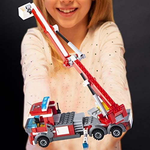 51QFXnfs1zL. AC  - QLT City Fire Station Building Kit Stem Toys,744 Pcs Fire Truck Helicopter Building Blocks Models,Creative Education DIY Learning Consturction Bricks Sets Toys for Kids Gifts
