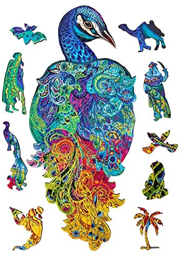 51QrKCXbPLS. AC  - Wooden Puzzles for Adults Kids Families – Eastern Fairy Tale Peacock – Wood Jigsaw Animal Shaped Puzzles – 128 Unique Shape Pieces – Animal Crossing Puzzle Creative Gift – 7.5x16.0in (19x46cm)