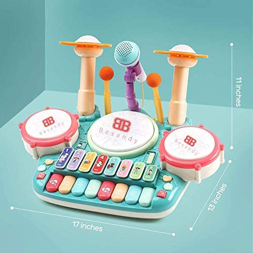 51Qu9CozsNL. AC  - Besandy 5 in 1 Musical Instruments Toys - Kids Electronic Piano Keyboard Xylophone Drum Toys Set with Light 2 Microphone for Suitable for Children Over 3 Years Old