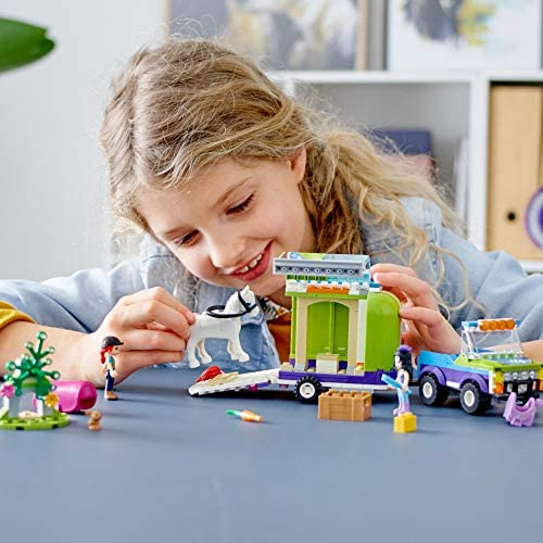 51QwO2jbSGL. AC  - LEGO Friends Mia's Horse Trailer 41371 Building Kit with Mia and Emma Mini Dolls Includes Toy Truck, Horse, and Rabbit for Creative Play (216 Pieces)