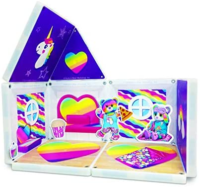 51R7Mk32nzL. AC  - CreateOn Build A Bear Cub Condo Magna-Tile Combo Set. The Original Magnetic Building Tiles Together with Reusable Cling Make Playing Fun, Creative & Colorful Toy for Children Ages 3 Years +