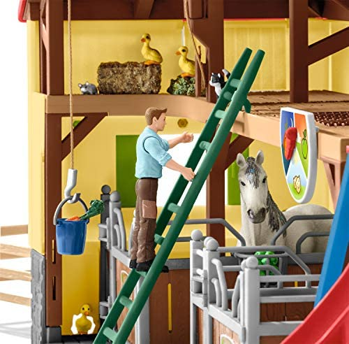 51RQPH34NqL. AC  - Schleich Farm World, 30-Piece Playset, Farm Toys and Farm Animals for Kids Ages 3-8, Horse Stable
