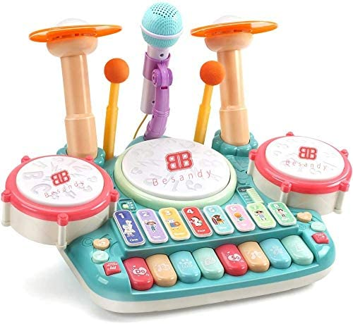 51RV1PnI7uL. AC  - Besandy 5 in 1 Musical Instruments Toys - Kids Electronic Piano Keyboard Xylophone Drum Toys Set with Light 2 Microphone for Suitable for Children Over 3 Years Old