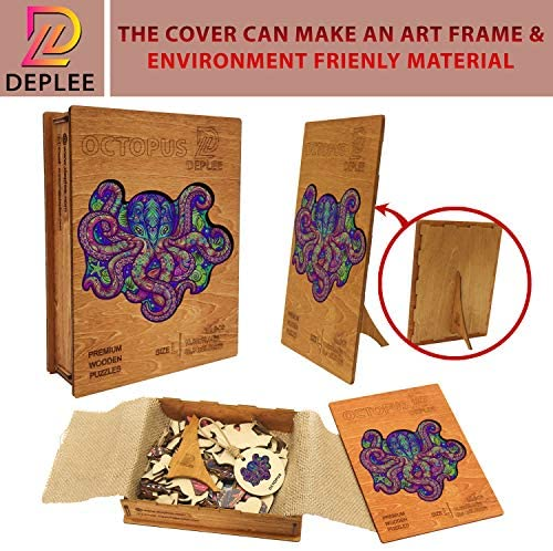 51RgAHfLf1L. AC  - DEPLEE Wooden Puzzle Jigsaw, Octopus Puzzle Toy Artwork, Animal Unique Shape Creative, Best Challenge Game for Adults, Kids, Family and Friend - 309 Pieces – 16.66 x 19.14 in (42.34x48.63 cm) - Large