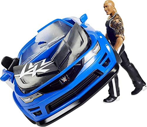 51RqR5C8pYL. AC  - WWE Wrekkin' Slam-Mobile Vehicle (13-in) with Rolling Wheels and 8 Breakable Parts & 6-in The Rock Basic Action Figure, Gift for Ages 6 Years Old and Up [Amazon exclusive]
