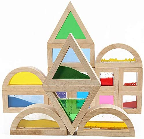 51TW4P6leCL. AC  - Kidpik Wooden Large Building Blocks for Toddlers Baby Kids 16 Pcs Geometry Sensory Wood Rainbow Stacking Blocks Construction Toys Set Colorful Preschool Learning Educational Toys for Boys Girls