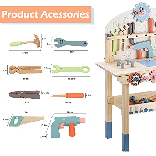 51Tiq8VQdrS. AC  - JOLIE VALLÉE TOYS & HOME Workbench Wooden,Tool Bench for Kids Toy Play -Tool Bench Workshop Workbench with Tools Set Wooden Construction Bench Toy for 3 4 5 Year Old Boys Girls