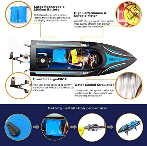 51UOrNRLIhL. AC  - DeXop Remote Control Boat Rc Boat with High Speed Radio Remote Control Electric Racing Boat for Children, Adults, Works in the bathtub at home(H100)