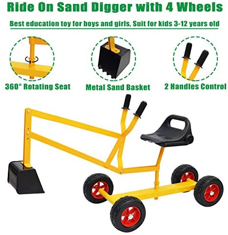 51VsvCWFIdL. AC  - Hand-Mart Ride On Sand Digger with Wheels, Sandbox for Kids, Play Toy Excavator Crane with 360° Rotatable Seat for Sand, Snow and Dirt, Heavy Duty Steel Digging Toys for Boys Girls Outdoor