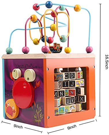 51WRGVHDTxS. AC  - GEMEM Wooden Activity Cube Bead Maze Toy Animal Learning Letters Gear Toys for Toddler Kid