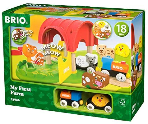 51WVc1fBSgL. AC  - Brio World - 33826 My First Farm   12 Piece Wooden Toy Train Set for Kids Ages 18 Months and Up