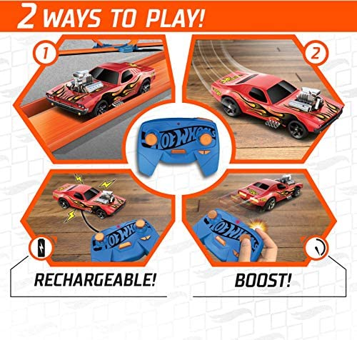 51WvtosPd+L. AC  - Hot Wheels R/C 1:64 Scale Rechargeable Radio-Controlled Racing Cars for On- or Off-Track Play, Includes Car, Controller & Adapter for Kids 5 Years Old & Up