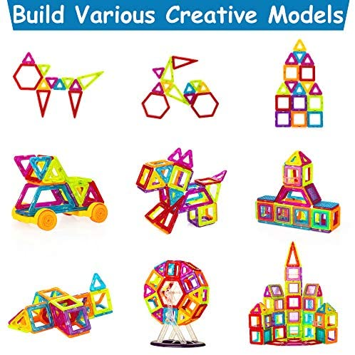 51XKRfmuAOL. AC  - Magnetic Building Blocks for Kids, 184PCS Colorful Magnet Tiles with Multiple Shapes, Strong Magnets, 3D STEM Educational Toy for 3+ Year Old Girls Boys