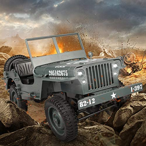 51XM8KWKbuL. AC  - RC Car for Boy Toy,1:10 Scale Simulation Army High Speed 4WD 2.4Ghz RC Cars with Led Light,Military Model Electric Jeep Toys,RC Trucks 4x4 Offroad,Children Gift for Birthday and Christmas (Grey)