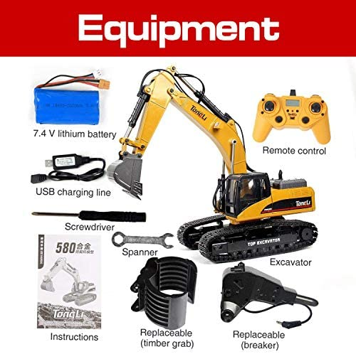 51Xx6FzthXL. AC  - TongLi 1580 1:14 Scale All Metal RC Excavator Toy for Adults Remote Control Digger Construction Trucks 2.4Ghz Powerful Upgraded V4 with New Motherboard