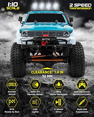 51ZAgwZpEDL. AC  - 1:10 Scale Large RC Rock Crawler - 4WD Off Road RC Cars - Remote Control Car 4x4 Electric Truck - IPX5 Waterproof Trucks for Adults - RTR with 5Ch Remote, Battery and Charger