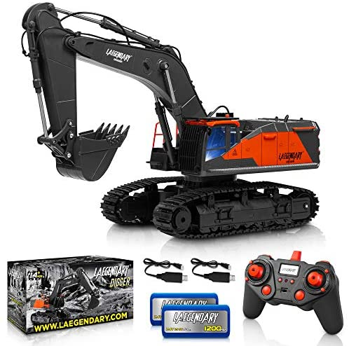 51bYWSzg3aL. AC  - 1:14 Scale Large Remote Control Excavator Toy for Boys and Adults – Compatible with Dump Truck RC Construction Vehicles - 22 Channel Full Functional Metal Shovel RC Truck - 2 Batteries & 2 Chargers