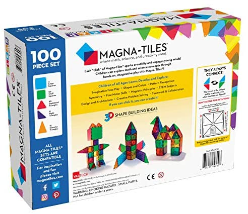 51bYfI5bK L. AC  - Magna-Tiles 100-Piece Clear Colors Set, The Original Magnetic Building Tiles For Creative Open-Ended Play, Educational Toys For Children Ages 3 Years +