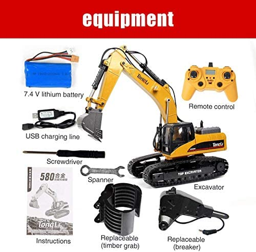 51bsOPO5A3L. AC  - TongLi 1580 1:14 Scale All Metal RC Excavator Toy for Adults Remote Control Digger Construction Trucks 2.4Ghz Powerful Upgraded V4 with New Motherboard