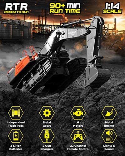 51c7UEl LxL. AC  - 1:14 Scale Large Remote Control Excavator Toy for Boys and Adults – Compatible with Dump Truck RC Construction Vehicles - 22 Channel Full Functional Metal Shovel RC Truck - 2 Batteries & 2 Chargers