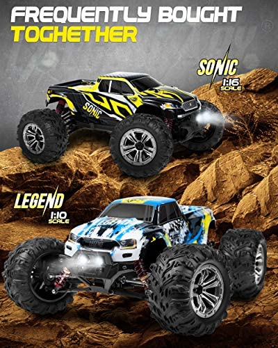 51csxfH6U0L. AC  - 1:10 Scale Large RC Cars 48+ kmh Speed - Boys Remote Control Car 4x4 Off Road Monster Truck Electric - All Terrain Waterproof Toys Trucks for Kids and Adults - 2 Batteries + Connector for 40+ Min Play