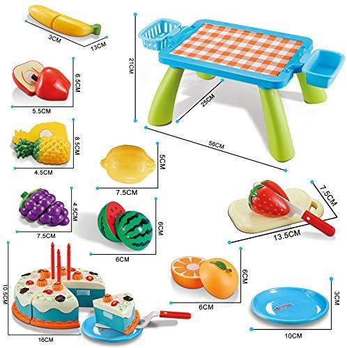 51d+2oaKjnL. AC  - XQW Food Kids Toy Set , 35PCS Pretend Play Food Dessert Set - Happy Birthday Cake - Cut Fruit Play, Great for Any Toy Kitchen Set or for Birthday Party, Learning Gift for Girls Boys Kids (35pcs)
