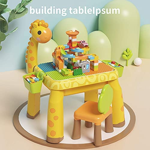 51dFI3qpXtS. AC  - Toddler Kids Activity Table Set Table and Chairs Set with Storage,8-in-1 Multi Activity Table Set, Large Building Blocks Compatible Bricks Toy, Toddlers Activity for Boys Girls, USB Supply with Light