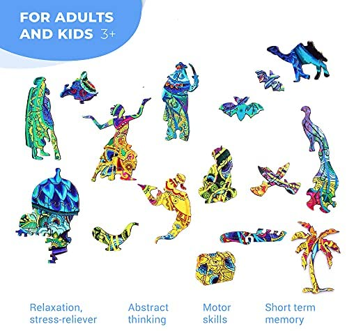 51e2rZNiLZS. AC  - Wooden Puzzles for Adults Kids Families – Eastern Fairy Tale Peacock – Wood Jigsaw Animal Shaped Puzzles – 128 Unique Shape Pieces – Animal Crossing Puzzle Creative Gift – 7.5x16.0in (19x46cm)