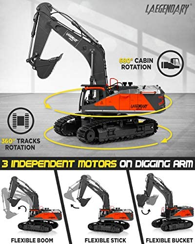 51eFXTGskQL. AC  - 1:14 Scale Large Remote Control Excavator Toy for Boys and Adults – Compatible with Dump Truck RC Construction Vehicles - 22 Channel Full Functional Metal Shovel RC Truck - 2 Batteries & 2 Chargers