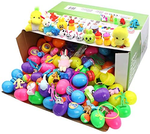 """51fMb9PunSL. AC  - 200 Pcs Prefilled Colorful Easter Eggs w/Toys and Stickers Premium Hinged 2 3/8"""" for Kids Basket Stuffers Fillers, Easter Hunt Game, Toys Filling Treats and Easter Theme Party Favor"""