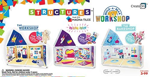 51fsnkt6hRL. AC  - CreateOn Build A Bear Cub Condo Magna-Tile Combo Set. The Original Magnetic Building Tiles Together with Reusable Cling Make Playing Fun, Creative & Colorful Toy for Children Ages 3 Years +