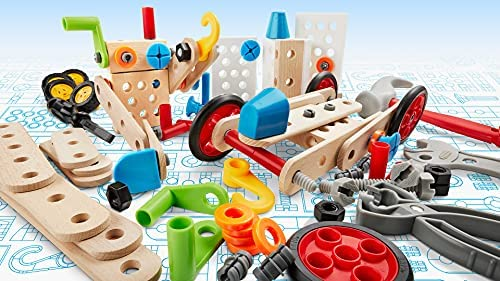 51gGsehXUNS. AC  - BRIO Builder 34587 - Builder Construction Set - 136-Piece Construction Set STEM Toy with Wood and Plastic Pieces for Kids Age 3 and Up