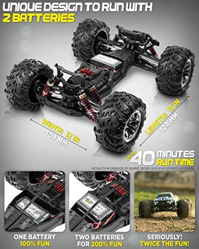 51hauqv1JIL. AC  - 1:10 Scale Large RC Cars 48+ kmh Speed - Boys Remote Control Car 4x4 Off Road Monster Truck Electric - All Terrain Waterproof Toys Trucks for Kids and Adults - 2 Batteries + Connector for 40+ Min Play