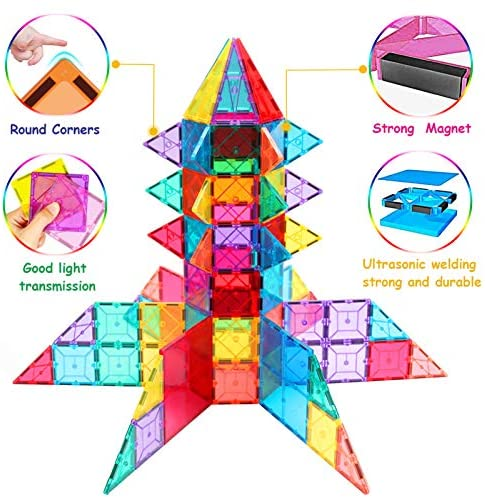 51hbSlFAm3L. AC  - HOMOFY Kids Magnet Tiles Toys 2021 New Upgrade 120Pcs 3D Magnetic Building Blocks Magnetic Tiles, Inspiration Educational Building Construction Learning Gifts for 3 4 5 6 Year Old Boys Girls